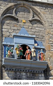 gouda, zuid holland/netherlands - july 22, 2014: puppet show depicting the granting of city rights in 1272 by floris 5 count of holland at historic city hall