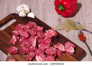 Goulash or beef stew ingredients ready for cooking. Photographed for a bird's eye view