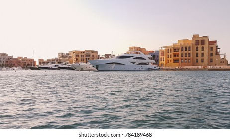 Gouna, Hurghada, Egypt - 2016 August - Yachts parking in the El Gouna Marina