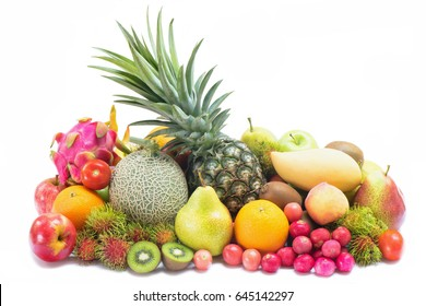Goup of tropical fruits isolated on white background