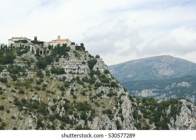 gourdon monastery overlooking the cote d,azur in the south of france