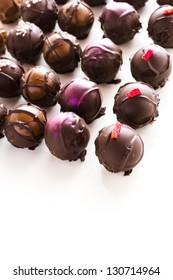 Gourmet assorted truffles hand made by chocolatier.