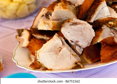 gourmet- baked-grilled slices of suckling pig