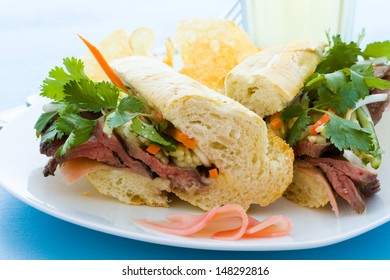 Gourmet banh-mi sandwich with chips on the side.