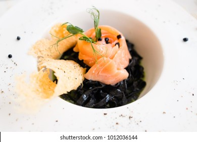 gourmet breakfast meal black pasta nero concept. luxury food. delicacy recipe.