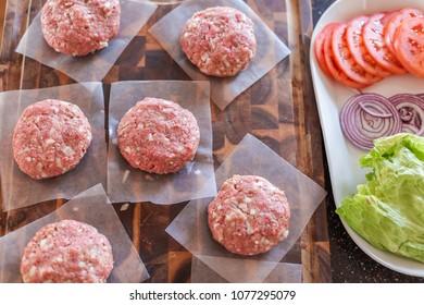 Gourmet burger patties for classic burgers.