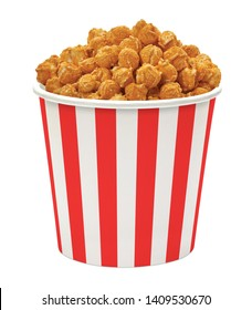 Gourmet Cheddar Cheese Popcorn in striped bucket isolated on white background including clipping path