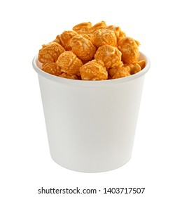 Gourmet Cheddar Cheese Popcorn in white blank cardboard cup isolated on white background. Including clipping path.