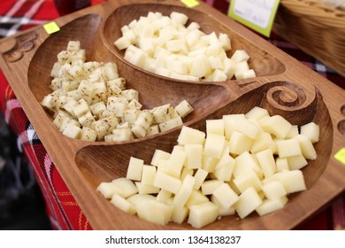 Gourmet cheese. Yellow goat cheese and kashkaval. Delicatessen cheeses. Delicious cheese. Farm made organic product.