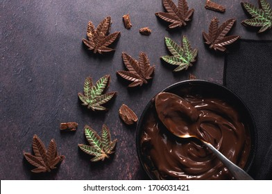 Gourmet chocolate cannabis edibles. Baking at home with chocolate sauce. Delicious CBD dessert. High baking for a party with friends or for medical use and pain relief.