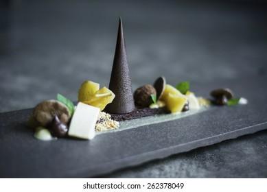 gourmet chocolate, fruit and nuts dessert platter