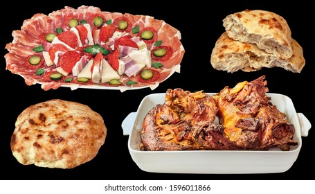 Gourmet Crunchy Spit Roasted Lamb Shoulder and Traditional Appetizer Savory Dish with Freshly Baked Pita Flatbread Loaves Isolated on Black Background