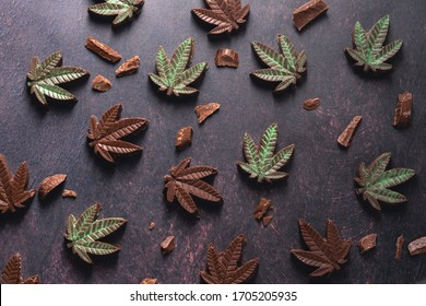Gourmet dark chocolate cannabis edibles dusted with green lustre for medicinal pain relief 10mg dose. For recreational pot users these are a delicious crowd pleasing dessert for a party with friends.
