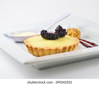 Gourmet Dessert. Cream-tart with black berry and berry coulis