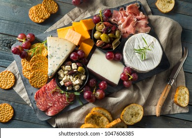 Gourmet Fancy Charcuterie Board with Meat Cheese and Grapes