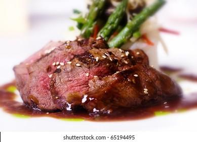 A gourmet fillet mignon steak at five star restaurant.