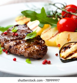 Gourmet grilled steak flavoured with pink pepper and basil. Concept for a tasty and healthy meal.