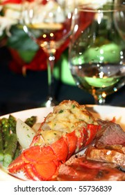 Gourmet lobster dinner at the fine restaurant