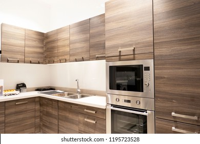 Gourmet new kitchen features . Modern kitchen interior .