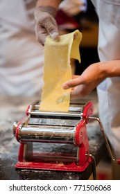 gourmet pasta making theme with flour and other objects