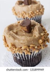 Gourmet peanut butter cups cupcake