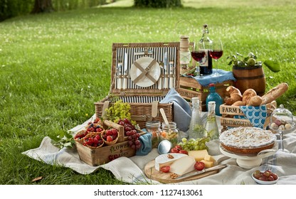 Gourmet picnic lunch in a park spread on a rug around a hamper with wine, cheese, fresh fruit, , bread rolls, cake, pickles and wraps on green spring grass under a tree