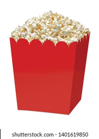 Gourmet popcorn in red blank jumbo box or bucket isolated on white background including clipping path