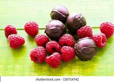 Gourmet raspberry truffles hand made by chocolatier.