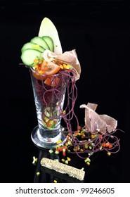 Gourmet salad in glass