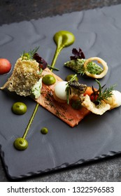 Gourmet style appetizer with cured or smoked salmon