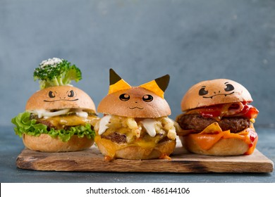 Gourmet  tasty burgers with cheese, and vegetables, selective focus