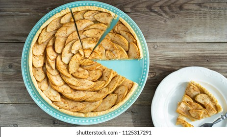 Gourmet traditional holiday apple tart. Rustic style and natural light.