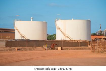 Gove Operations Bauxite Mine Alumina Refinery tank in Nhulunbuy, Arnhem land, Northern Territory state of Australia.