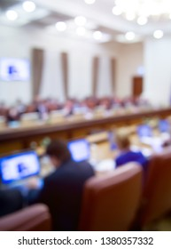 Govern meeting business event. Session of Government. Conference, academic classroom training course in lecture hall. blur abstract background. working in modern office indoor