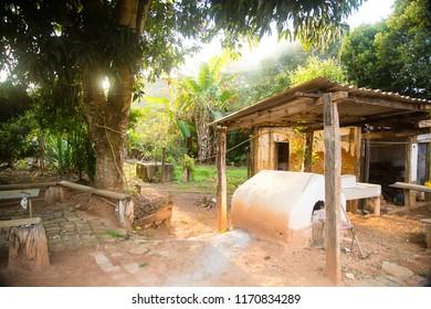 Governador Valadares/Minas Gerais/Brazil - Mai 14 2014: Wood-fired oven in the interior of Minas Gerais