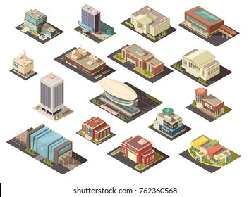 Government building isometric set with state institutions symbols isolated  illustration