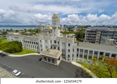 Government Buildings in Suva city center. Offices of Fiji Government. Prime Minister of Fiji's offices, the High Court, ministries, Parliament of Fiji. Melanesia, Oceania, South Pacific Ocean