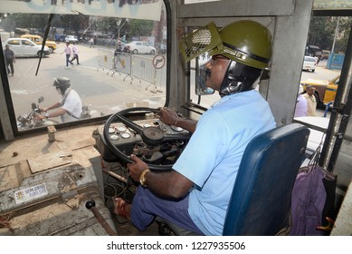 Government bus driver wear helmet during the strike called by Bharatiya Janta Party or BJP on September 26, 2018 in Calcutta, India.
