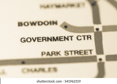 Government Ctr Station. Boston Metro map.