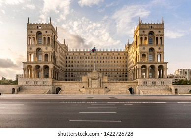The Government House in Baku (House of the soviets), Azerbaijan, during sunset