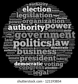 Government info-text graphics and arrangement concept on black background (word cloud)