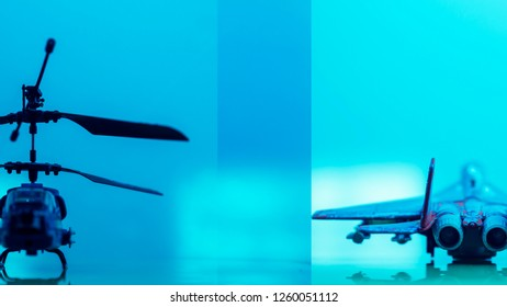 Government Military defence Technology Blurry Abstract Background, Helicopter and Drone , Concepts Of Modern Military Operation or Military Grade Product.