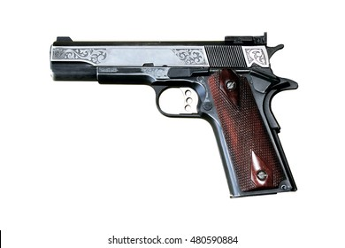 Government Model .45 Automatic Caliber Pistol on white background