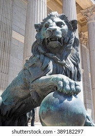 government office Congress of Deputies of Spain with bronze lion sculpture Madrid Europe