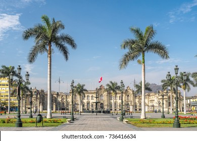 The Government Palace of Peru at Plaza Mayor in Lima city.