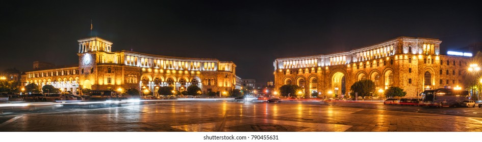 The Government of the Republic of Armenia and Central Post Office on Republic Square in Yerevan at night, Armenia.