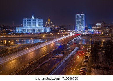 Government of Russian Federation, Novoarbatsky bridge at night in Moscow, this photo on billboard