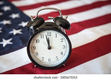 Government Shut Down, Alarm Clock and American Flag