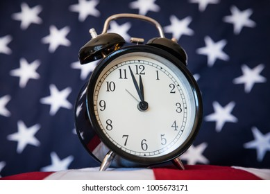 Government Shutdown, Alarm Clock and American Flag, Low Angle