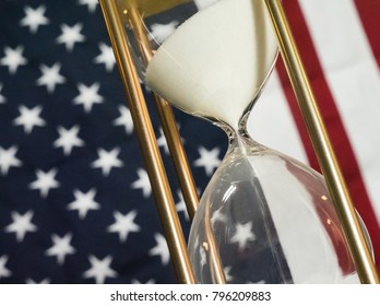 Government Shutdown, Hourglass with American Flag